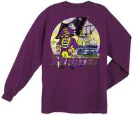Guy Harvey East Carolina Pirates Back-Print Pocketless Long Sleeve Men's Tee in Purple