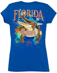 Guy Harvey Florida Gators Back-Print Junior Ladies Tee with Front Faux Pocket in Royal Blue