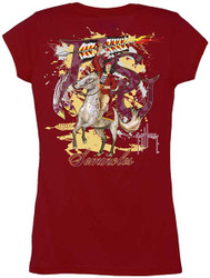 Guy Harvey Florida State Seminoles Back-Print Junior Ladies Tee with Front Faux Pocket in Garnet