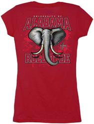 Guy Harvey Alabama Crimson Tide Back-Print Junior Ladies Tee with Front Faux Pocket in Red