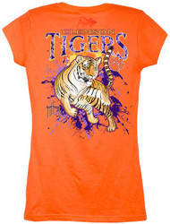 Guy Harvey Clemson Tigers Back-Print Junior Ladies Tee with Front Faux Pocket in Orange