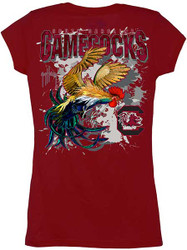 Guy Harvey South Carolina Gamecock Back-Print Junior Ladies Tee with Front Faux Pocket in Garnet