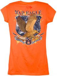 Guy Harvey Auburn University War Eagles Back-Print Junior Ladies Tee with Front Faux Pocket in Orange
