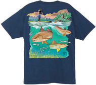 Guy Harvey SUP Above & Below Men's Back-Print Tee w/ Pocket in Yellow or Navy
