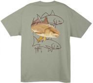 Guy Harvey Redfish Dash Men's Back-Print Tee w/ Pocket in Black, Denim Blue, Graphite or Stonewashed Green