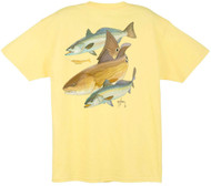 Guy Harvey Redfish Two Seatrout Back-Print Tee w/ Pocket in Ocean Blue, White, Yellow or Denim Blue