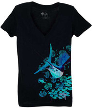 Guy Harvey By a Thread V-Neck Front-Print Junior Ladies Tee in Black, Banana or Cancun