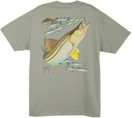 Guy Harvey Snook 1 Men's Back-Print Tee w/ Pocket in White, Stonewashed Green, Denim or Cardinal