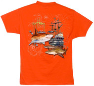 Guy Harvey Jolly Roger Boys Tee Shirt in Navy, Orange or Turquoise