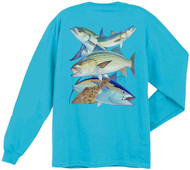 Guy Harvey Northeast Collage Men's Back-Print Long Sleeve Tee w/Pocket in Aqua Blue