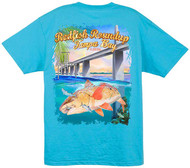 Guy Harvey Redfish Roundup Men's Back-Print Tee w/Pocket in White, Yellow or Aqua Blue