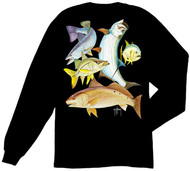 Guy Harvey Inshore Collage Back-Print Long Sleeve Men's Tee w/Pocket in Black or Aqua Blue
