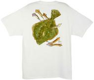 Guy Harvey Summer Flounder Men's Back-Print Tee w/ Pocket in White
