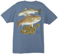 Guy Harvey Gulf Coast Collage Men's Back-Print Men's Tee w/ Pocket in Kelly Green, White, Cardinal or Denim