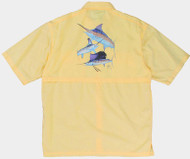 Guy Harvey Grand Slam Graphical Technical Short Sleeve Fishing Shirt in Yellow