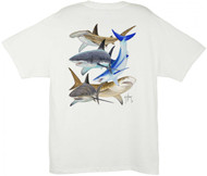 Guy Harvey Shark Collage Men's Back-Print Tee w/ Pocket in White