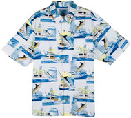 Guy Harvey Sportfishing Woven, Aloha-Style Shirt in White or Blue
