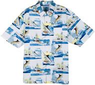 Guy Harvey Sportfishing Woven, Aloha-Style Shirt in White