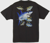 Guy Harvey Mako Shark Men's Back-Print Tee w/ Pocket in Black, White, Aqua Blue, Red  or Graphite