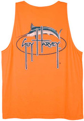 Guy Harvey Oval Marlin Vintage Back-Print Men's Tank Top in Caribbean Blue, Kiwi or Melon