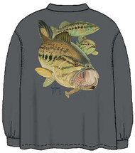 Guy Harvey Largemouth Bass and Crawdad Men's Back-Print Long Sleeve Tee Without Pocket in Smoke Gray