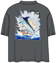Guy Harvey Offshore Boat  Men's Back-Print Pocket-Free Tee in Camel or Charcoal Gray