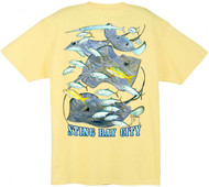 Guy Harvey Stingray City Men's Back-Print Tee w/ Pocket in Yellow