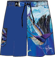 Guy Harvey Electric Rush Men's Fakie Board Short in Royal