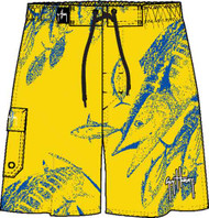 Guy Harvey Wahoo Strike Men's Fakie Board Short in Royal or Yellow