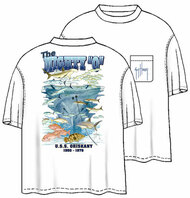 Guy Harvey Oriskany Men's Back-Print Tee w/ Pocket in White