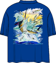 Guy Harvey Neon Island Marlin Back-Print Pocketless Men's Tee w/ Front Signature in Neon Pink and Neon Blue