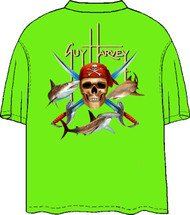 Guy Harvey Pirate Shark Back-Print Pocketless Men's Tee w/ Front Signature in Neon Lime and Neon Blue