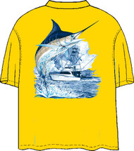 Guy Harvey Marlin Boat Back-Print Pocketless Men's Tee w/ Front Signature in Neon Orange and Neon Yellow