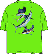 Guy Harvey Grand Slam Back-Print Pocketless Men's Tee w/ Front Signature in Neon Orange, Neon Lime and Neon Yellow
