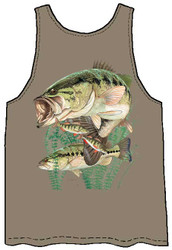 Guy Harvey Largemouth Bass and Perch Back-Print Men's Tank Top in Safari Green