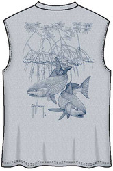 Guy Harvey Redfish Mangrove Back-Print Muscle Shirt in Athletic Heather