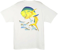Guy Harvey Bull Dolphin Men's Back-Print Tee w/ Pocket in Ocean Blue, White, Black, Red or Denim