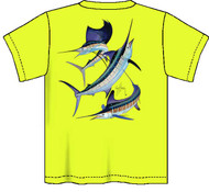 Guy Harvey Grand Slam Neon Boys Tee Shirt in Neon Pink, Neon Yellow or Neon Orange