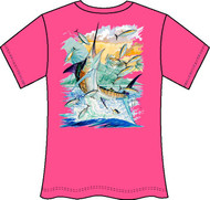 Guy Harvey Island Marlin Neon Ladies Back-Print Tee with Front Signature in Neon Orange, Neon Pink or Neon Yellow