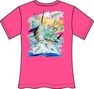Guy Harvey Island Marlin Neon Ladies Back-Print Tee with Front Signature in Neon Orange, Neon Pink or Neon Yellow