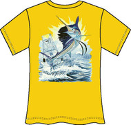 Guy Harvey Sailfish Boat Neon Ladies Back-Print Tee with Front Signature in Neon Orange, Neon Pink or Neon Yellow