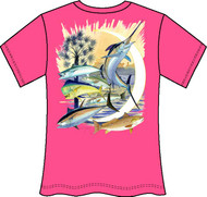 Guy Harvey Palmetto Moon Neon Ladies Back-Print Tee with Front Signature in Neon Orange, Neon Pink or Neon Yellow