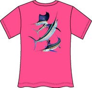 Guy Harvey Grand Slam Neon Ladies Back-Print Tee with Front Signature in Neon Orange, Neon Pink or Neon Yellow