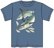 Guy Harvey Kingfish Boys Tee in Lime or Denim Blue