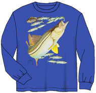 Guy Harvey Snook Long Sleeve Boys Tee Shirt in Royal