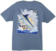 Guy Harvey Offshore Boat  Men's Back-Print Tee w/ Pocket in White or Denim Blue