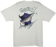 Guy Harvey Two Sails  Men's Back-Print Tee w/ Pocket in White or Denim Blue