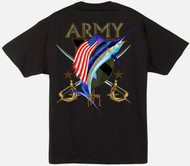Guy Harvey U.S. Army Crest Men's Back-Print Tee w/ Pocket in White or Black