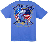 Guy Harvey National Guard  Men's Back-Print Tee w/ Pocket in White or Ocean Blue
