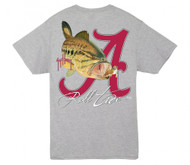 Guy Harvey University of Alabama Roll Tide Men's Back-Print Pocketless Men's Tee in Black, Athletic Heather or Red